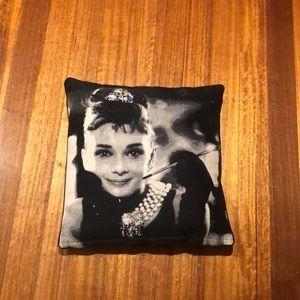 square pillow with Audrey Hepburn print